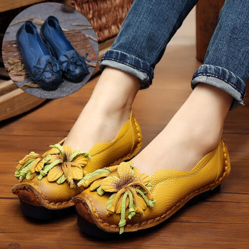Women/'s Ethnic Style Cowhide Flower Pull On Shoes Soft Sole Flat Slip On Loafers
