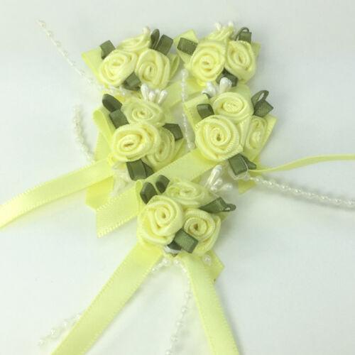 Pretty rose /& nœud ruban embellissements 65mm x 35mm vendu par 5 noeuds