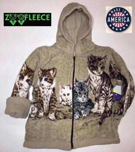 ZooFleece Beige Cats Kittens Kids Girls Animal Pet Jacket Hoodie Coat Reversible