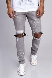 Biker-Jeans-Pantaloni-Grigio-Destroyed-Stonewash-Uomo-da-Denim-Slim-Fit