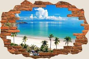 3D-Hole-in-Wall-Exotic-Ocean-Beach-View-Wall-Stickers-Art-Decal-Wallpaper-S85