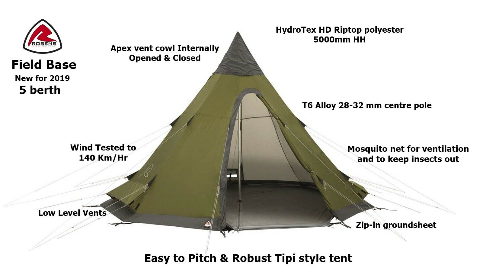 Robens Field Base - 5 Berth Tipi -Robust & Easy to Pitch- NEW for 2019