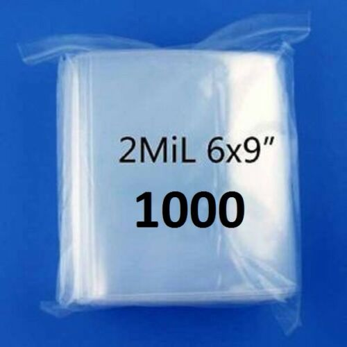 """1000-6/"""" x 9/""""  6x9 Zip Lock Resealable Plastic Bags 2 MIL Reclosable Poly Clear"""