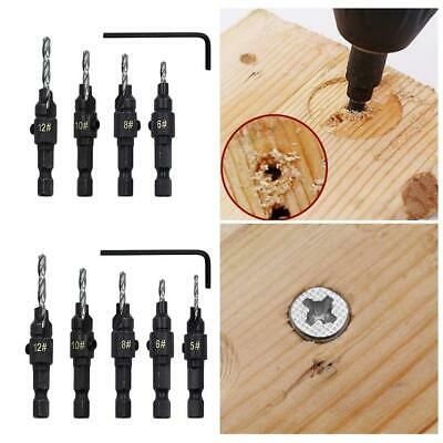 5X HSS Countersink Drill Bit Set Screw Woodworking Chamfer Tool Quick Change