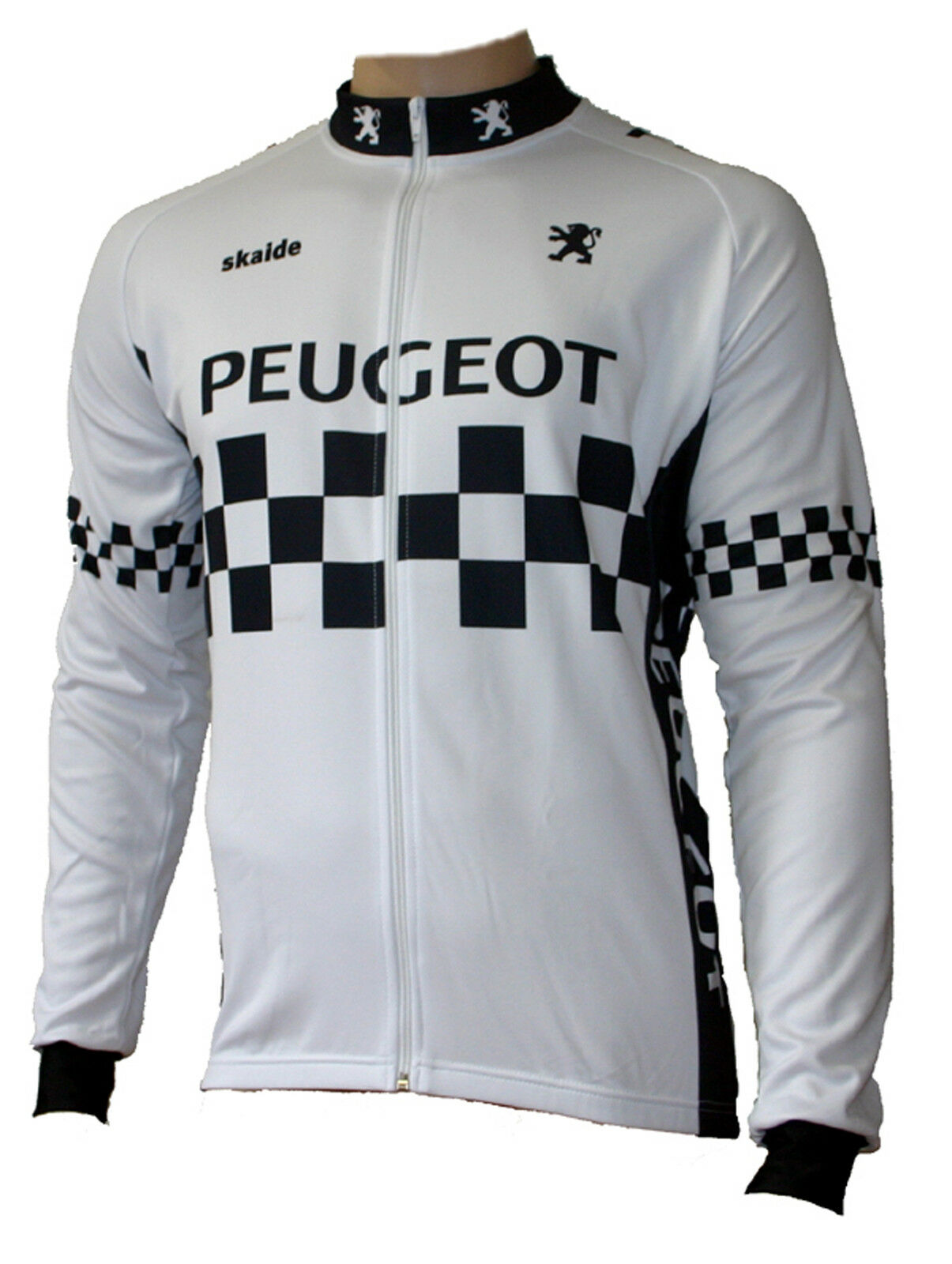 Radtrikot Peugeot retro white long sleeve (also on sizes up to 6xl)
