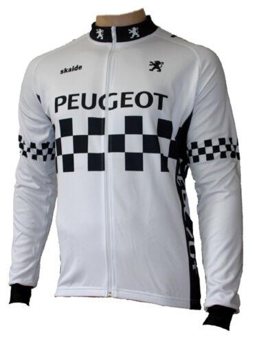 auch Übergrößen bis 6XL Radtrikot Peugeot Retro Weiß langarm