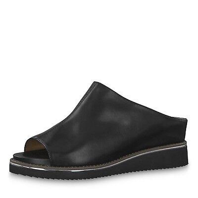 Tamaris 27208 Black Leather High Front Peep Toe Mid Heel Wedge Touch It Mules   eBay