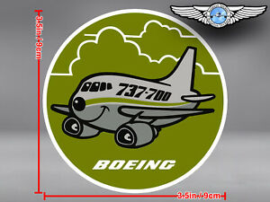 BOEING-737-700-B737-700-737-OLD-VINTAGE-PUDGY-STYLE-ROUND-DECAL-STICKER