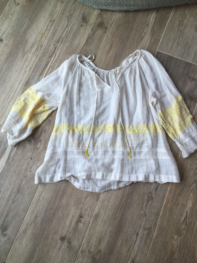 Anthropologie Floreat Perfect Embroidered Summer Top S Euc