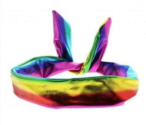 Donna Ragazze Per Bambini Arcobaleno Metallico WIRE fascia per capelli 2.5cm Wide Nuovo di Zecca