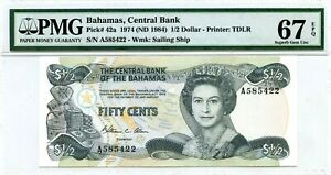 BAHAMAS-1-2-DOLLAR-1974-ND-1984-BAHAMAS-CENTRAL-BANK-PICK-42-a-VALUE-320