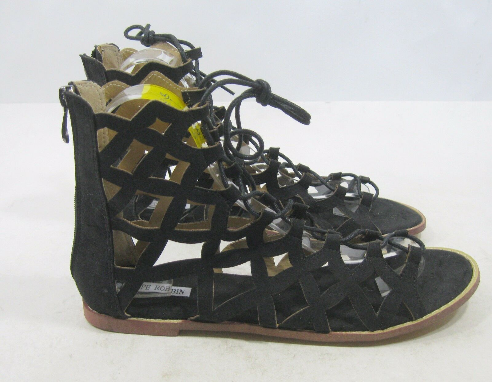 Cape Robbin Black Womens shoes Roman Gladiator Lace Up Sexy Sandals Size 7.5