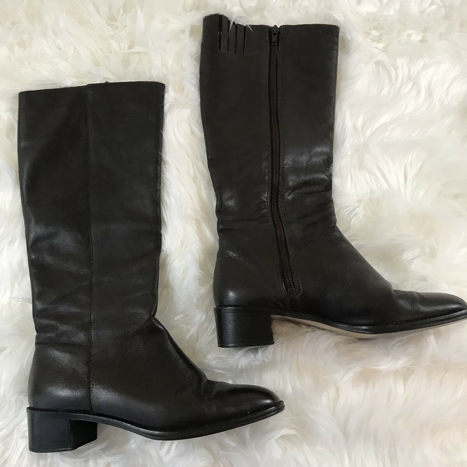 Ipanema Sz 8 M Brown Leather Knee High Riding Style Boots 1.5 in. Heels