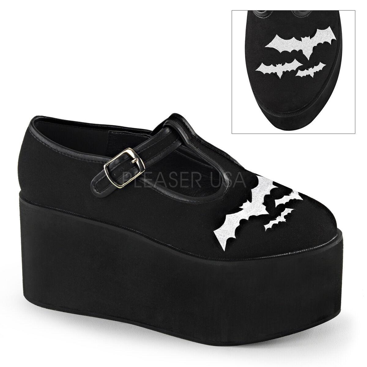 Huge Demonia Demonia Demonia 3.25  Monster Platform Black Canvas Embroidered Bat shoes Goth 6-11 93d50d