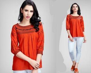WOMEN-FASHION-INDIAN-SHORT-Rayon-EMBROIDERY-KURTA-KURTI-TUNIC-TOP-SHIRT-DRESS