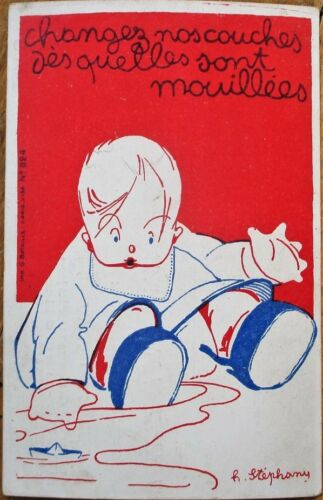 H. StephanyArtistSigned 1920 French Postcard Baby Health, American Red Cross