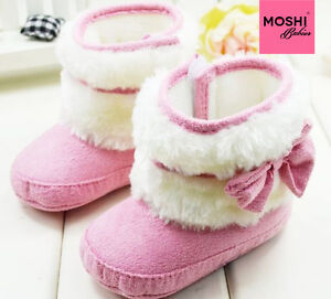 Girls-Baby-Pink-winter-boots-with-bow-white-fur-pre-walkers-by-Moshi-Babies