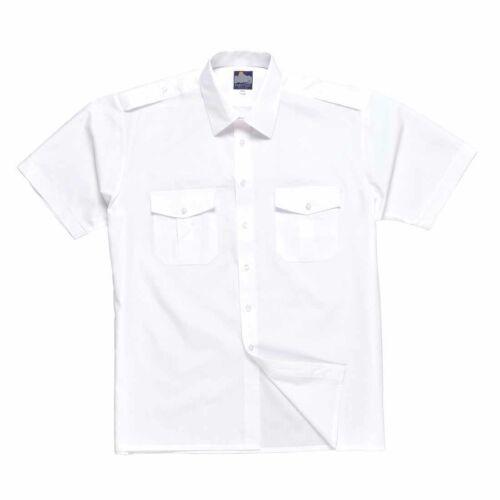 Portwest Pilot Style Uniform Workwear Short Sleeve Shirt With Epaulets