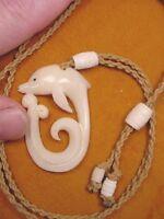 Jba-11 Dolphin Wave Aceh Bovine Bone Pendant Jewelry Necklace Porpoise Dolphins