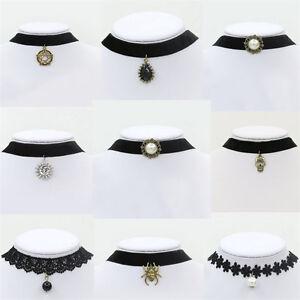 Black-Velvet-Charm-Women-039-s-Pendant-Choker-Necklace-Gothic-Handmade-Retro-Jewelry