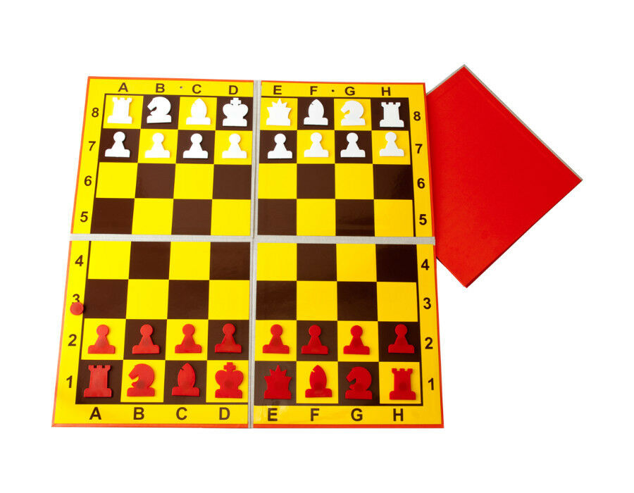 Carrying Demonstration Chess Board-white-red pieces - 90 cm,35,5  - club,school