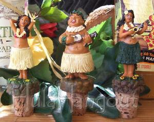 Hawaiian Hula Girl Cork Wine Bottle Stopper Set.  Tiki Bar Vintage. Free Ship!