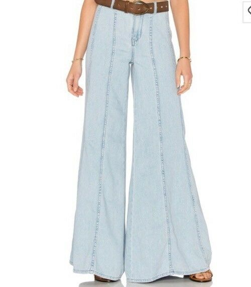 FREE PEOPLE GILMORE WOMENS EXTREME WIDE LIGHT DENIM PANTS  Flare