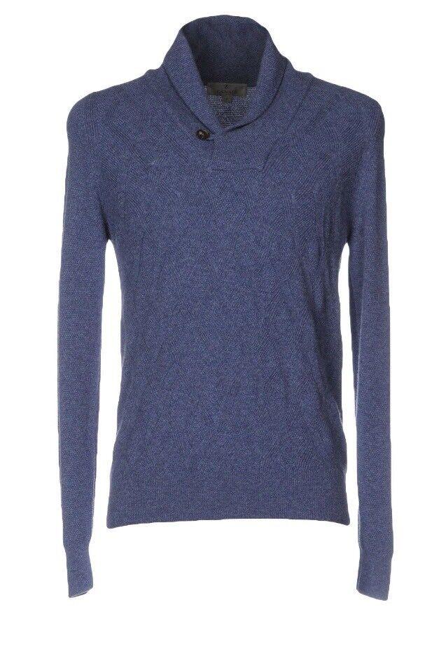 900 Canali Blau Cashmere Shawl Collar Sweater Größe 58 or XXXL, Made in