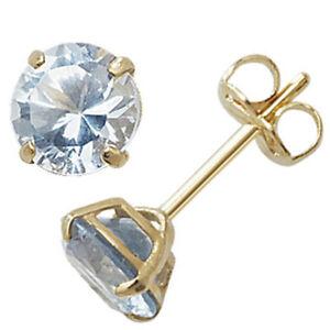 9ct-oro-marzo-Piedra-Aretes-Joyas-Color-Azul-Aguamarina