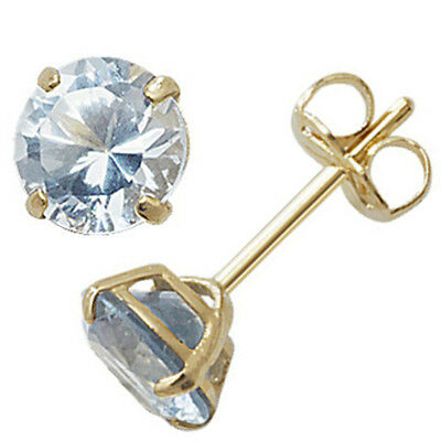 Silver 6mm Square Aquamarine Coloured March Birthstone Stud Earrings Jewellery