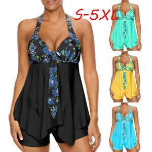 Womens-Halter-Tankini-Swimdress-Floral-Print-Swimwear-Bathing-Suit-Plus-Size-5XL
