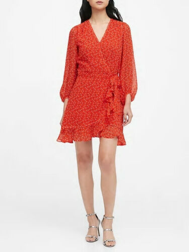 Banana Republic Red Heart Print Ruffle Wrap Dress Size 8