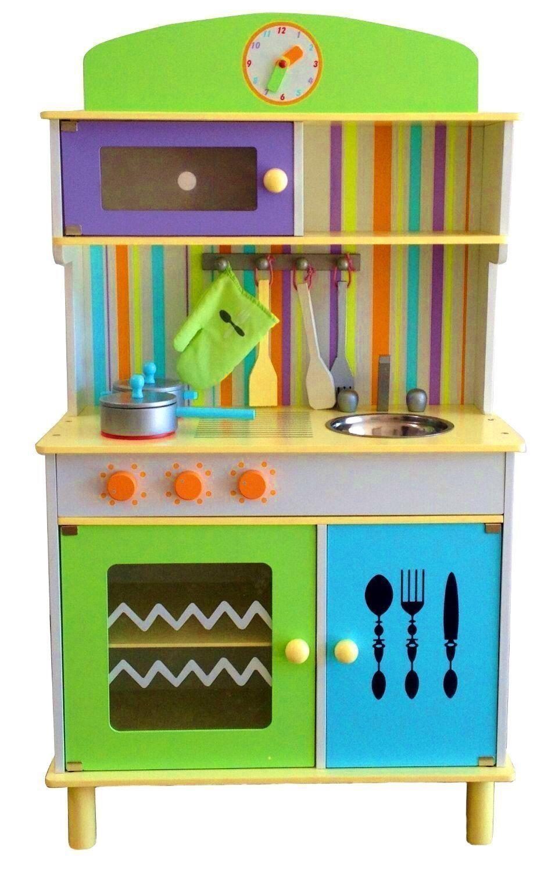 Best For Kids Kids For Kinderküche Spielküche aus Holz mit Zubehör - Chefküche Grün Blau 5c4d5a