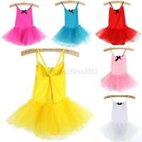Girls Kids Gymnastics Dance Dress 2-7Y Baby Ballet Tutu Leotard Skirt Dancewear