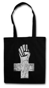 ANARCHIST CROSS STOFFTASCHE Anarchy Logo Symbol Anarchie Punk Demo Fist Kreuz