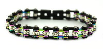 Ladies Black Pink Motorcycle Stainless Steel Crystal Bike Chain Bracelet