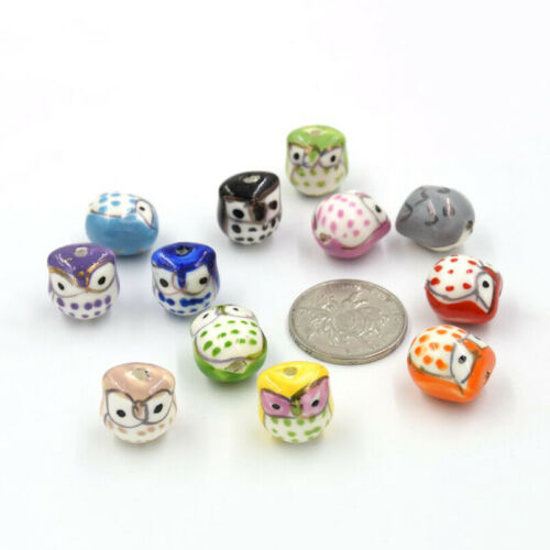 Owl Ceramic Bead Craft Loose Beads Jewelry DIY Bracelet Earrings Accs 12 colors