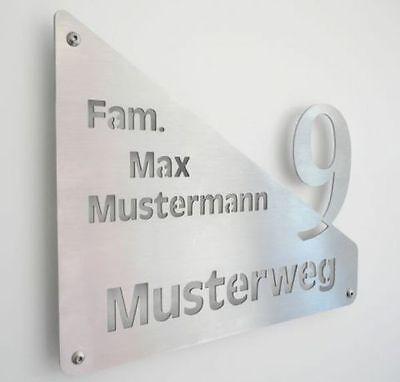 Hausschild aus Edelstahl mit individueller Beschriftung - Hausnummer Türschild