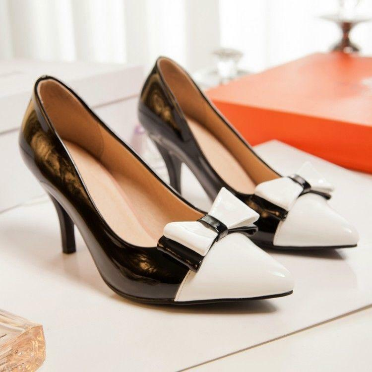 Womens Sexy Sexy Sexy  Office Work Kitten Heel Pointed Toes Slip On Bowtie shoes Pumps R1 8145a6