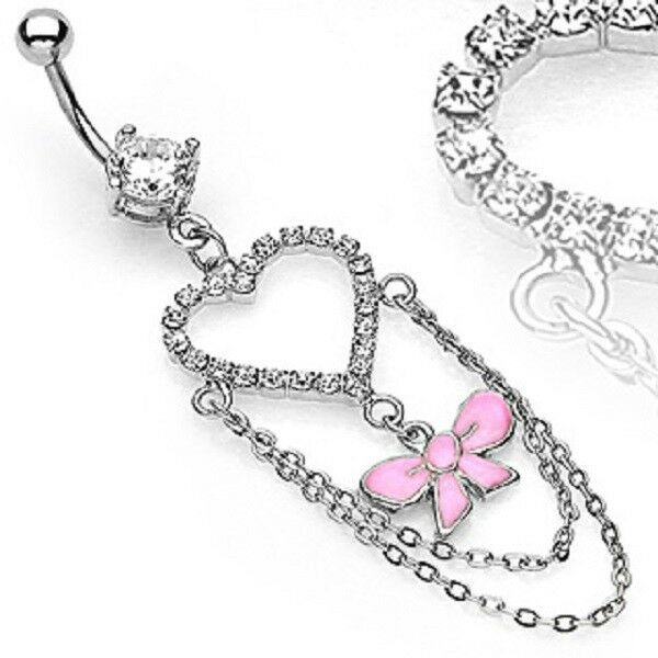 316L Surgical Steel Breast Cancer Awareness Pink Ribbon Dangle Belly Navel Ring