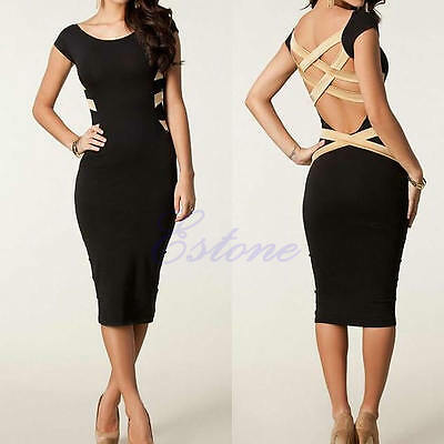 Fashion Women Sexy Lace Short Sleeve Slim Bodycon Party Cocktail Evening Dress