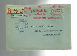 1935 Berlin Germany Registered Meter cover to USA Deutsche Bank