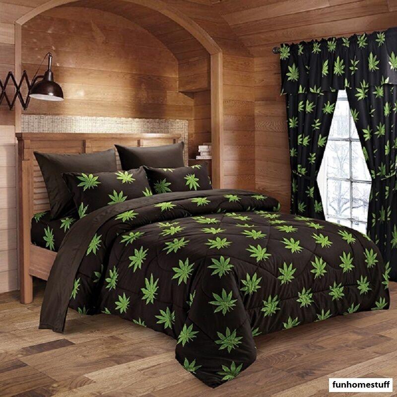 6 PIECE BUD 420 HERB POT WEED LEAF MICROFIBER BED SHEETS SUPER SOFT SHEET SET