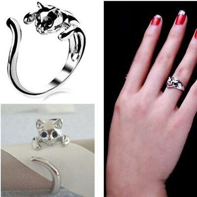 Popular Hot Lovely Silver Kitten Cute Cat Animal Crystal Black Eyes Finger Rings