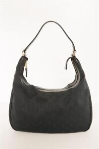 96a6c73d82134 GUCCI Womens Classic Black CHARMY HOBO GG Canvas Gold Hardware ...