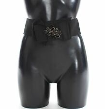 NWT $540 DOLCE & GABBANA Belt Black Floral SICILY Crystal Waist IT42 / US8 / M