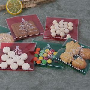 100-Pcs-Auto-Adhesif-Noel-Cookies-Bonbons-Emballage-Sacs-Fit-pour-cadeau-de-Noel