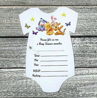 Fill In 10 Winnie The Pooh Baby Shower Invitations with Envelopes