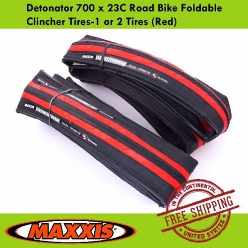 Red Maxxis Detonator 700 x 23C Road Bike Foldable Clincher Tires-1 or 2 Tires