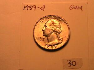 1959-D-Washington-25-Cents-Silver-USA-Quarter-Lustrous-White-Denver-Mint-Gem-BU